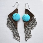 Turquoise and Leather Earring w/Chainmail Fringe