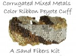 Corrugated Mixed Metals Color Ribbon Peyote Cuff