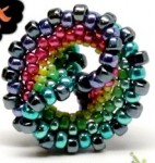 Rainbow Twisted Peyote Beaded Bead