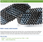 Multi-rowed, wide bracelet using Twins