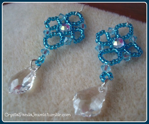 Seed Bead And Crystal Earrings