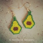 Avocado Seed Bead Earrings