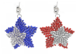Long Magatama Patriotic Earrings