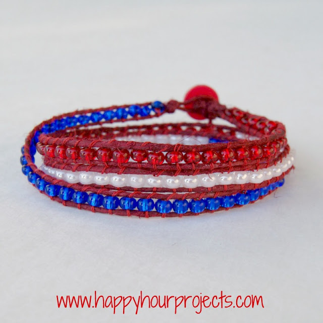 4th of july bead patterns red white blue wrap bracelet for Patriotic beaded jewelry patterns