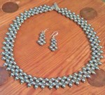 Right Angle Weave Pearl and Seed Bead Necklace and Earrings