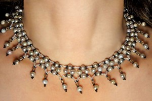 Pearl and Crystal Netted Necklace