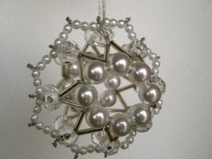 Beaded Christmas Snowball Ornaments
