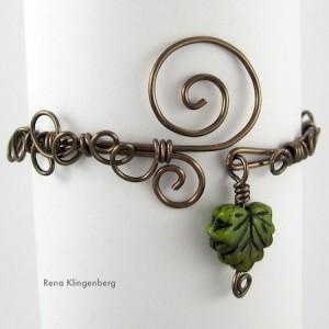 Leaf & Vine Filigree Wire Bracelet