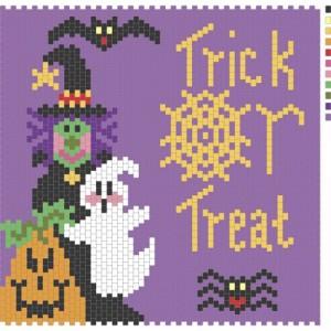 Trick or treat peyote stitch amulet/pin