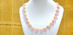 Lace Necklace with Seed Beads