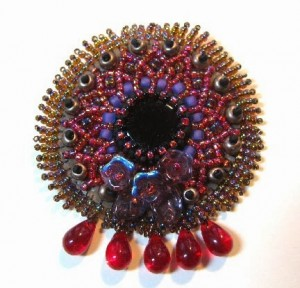 Red Bead Embroidered Pendant with Drops
