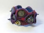 Steampunk Zipper & Lampwork Bead Bracelet