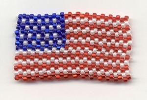 Seed bead flag pin guide to beadwork blog for Patriotic beaded jewelry patterns
