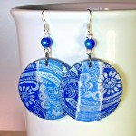 Decoupage Earrings Mixed Media Art Jewelry
