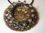 Bezel Effects Bead Embroidered Pendant