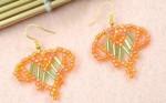 Bugle Beaded Orange Heart Earrings