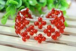 Embellished Red Right Angle Weave Bracelet