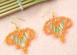 Bugle Beaded Orange Heart Earrings