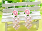 ink Rose Bead Earrings with Pearl and Seed Beads