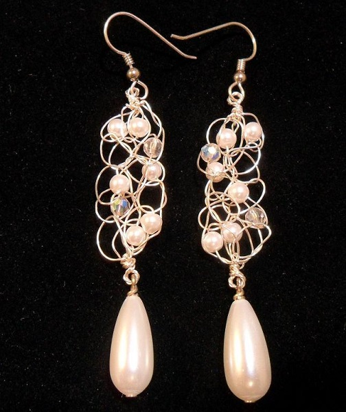 Crocheted Wire And Bead Earrings
