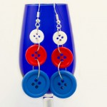 Red, White, and Blue Button Earrings