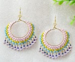 Beaded Multi Color Hoop Earrings